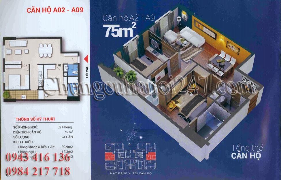 Mặt bằng thiết kế căn hộ diện tích 75m2