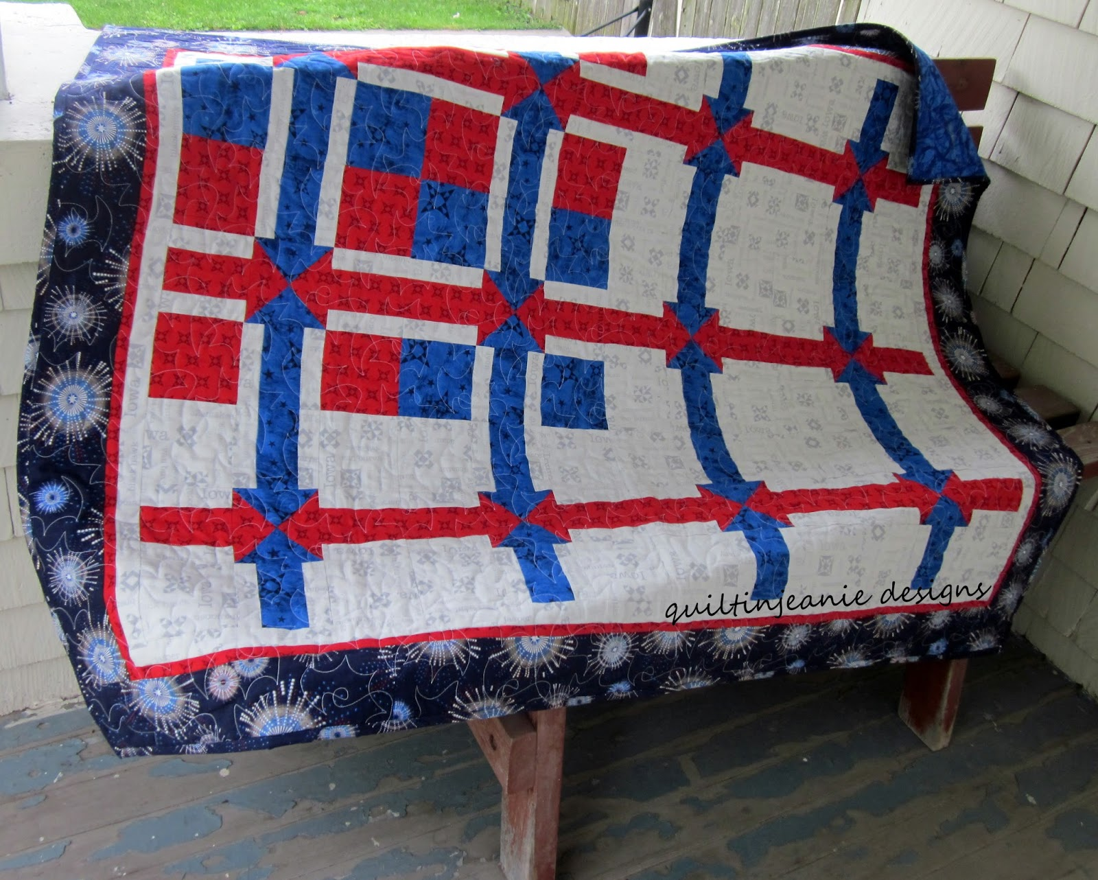 Red White and True Throw (Twin size included in the pattern.)
