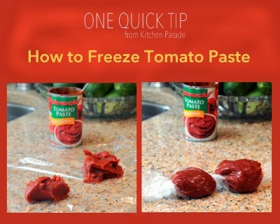 How to wrap leftover tomato paste to freeze in convenient portions.