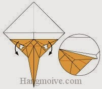 Bước 13: Mở hai lớp giấy ra và gấp xuống dưới.