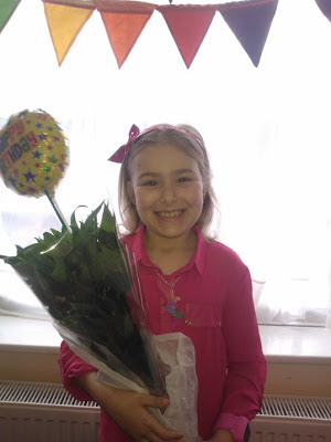 Top Ender with her Serenta Birthday Flowers