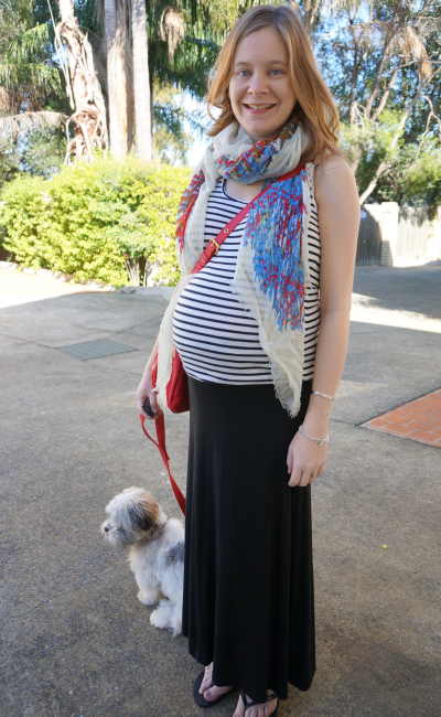 Third trimester pattern mixing jeanswest stripe tank maxi skirt print scarf