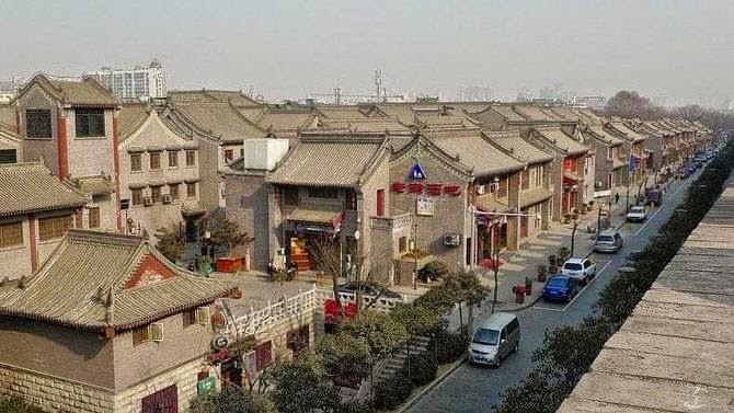 Walking along the ancient City wall in Xi'an, China