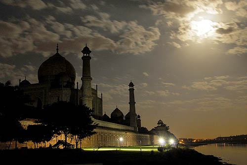 Taj Mahal View in Moon Light