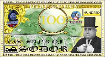 Tank engine Molly Thomas the train fake kids printable play money for number one hundred 100 bill