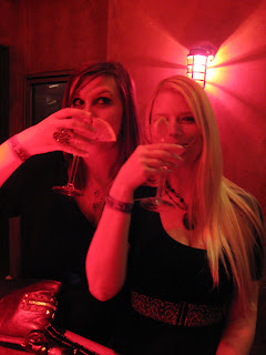 Ashley and Nicole drinking Vodka Martinis at Red Square
