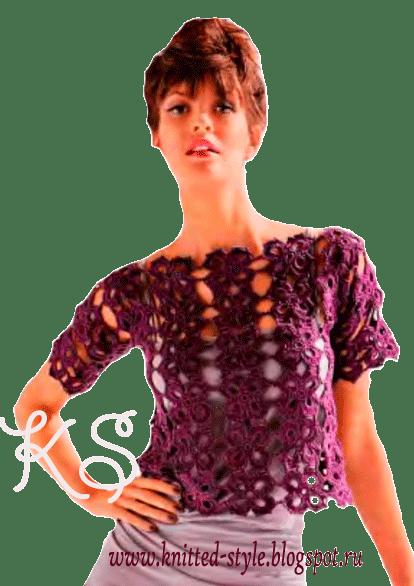 Эффектный фиолетовый летний пуловер