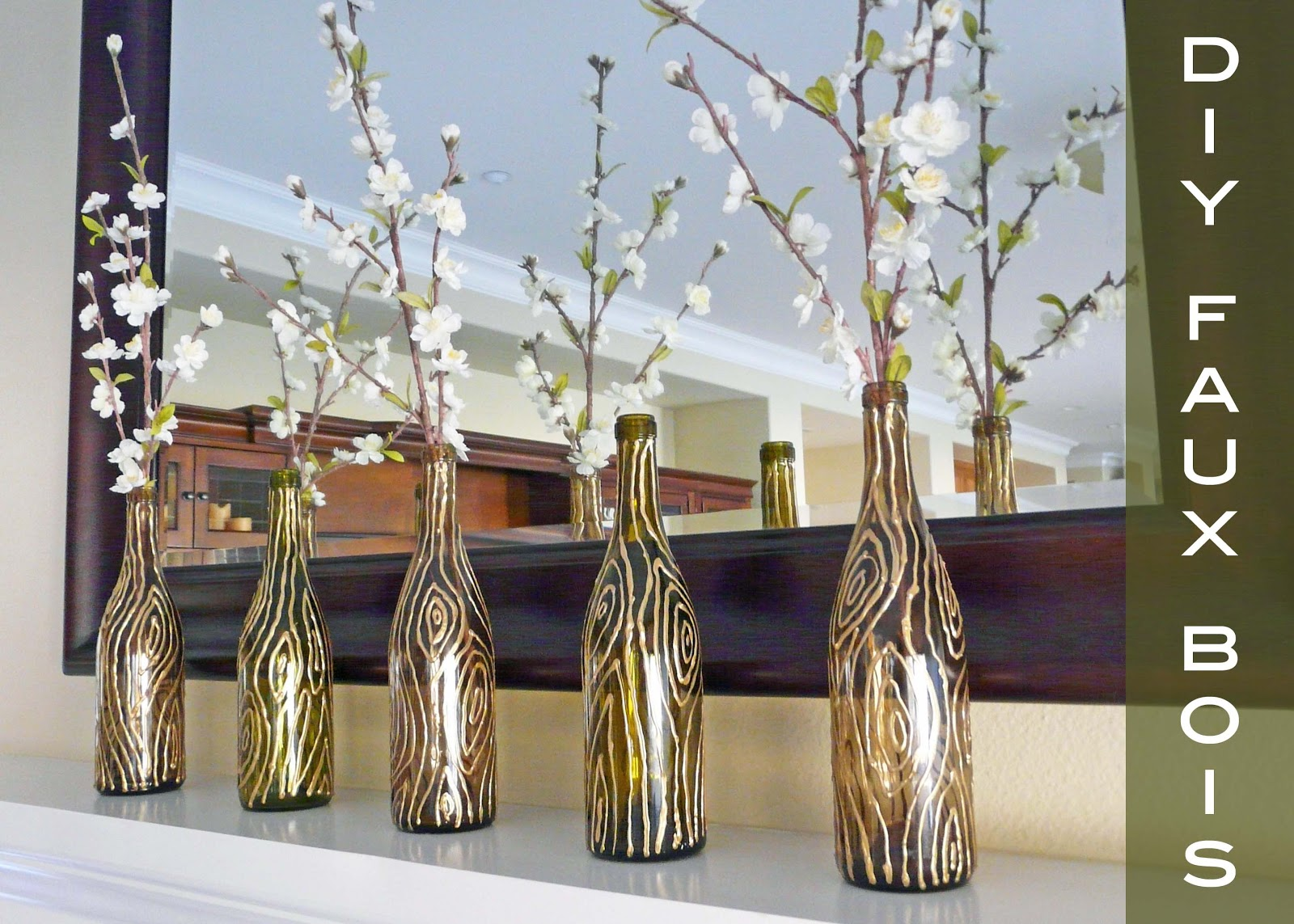 Make faux bois vases for Things made from wine bottles