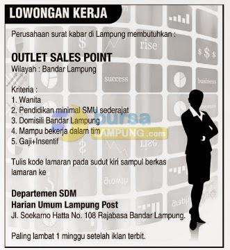 Lowongan Kerja Outlet Sales Point, Sabtu 30 Agustus 2014