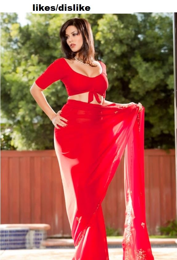 hot sunny leone in red sharee photo