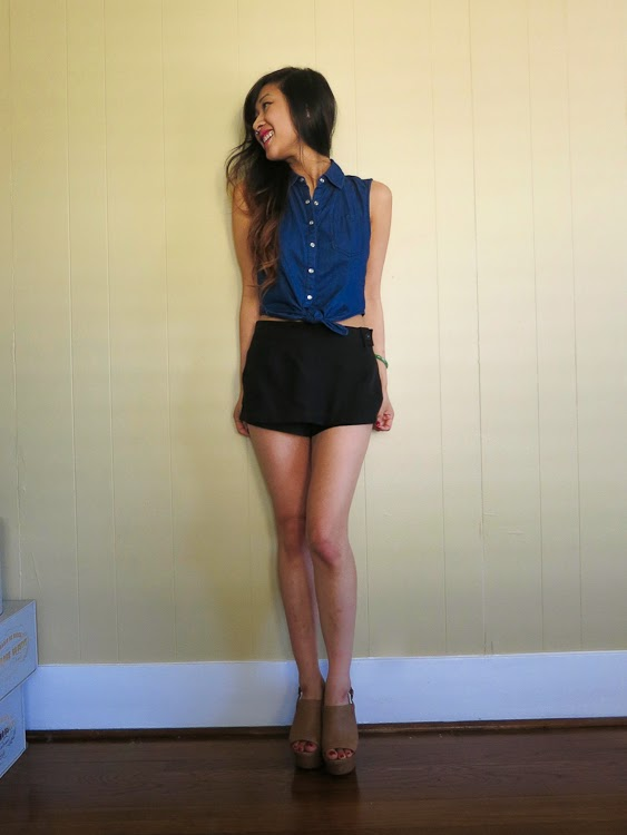 short skort denim crop top