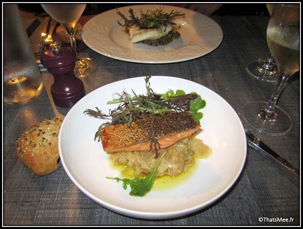 Golf Spa Cicé Blossac Le restaurant plat saumon lit fenouil cuisine table Bretagne, domaine spa cice blossac golf resort  Rennes
