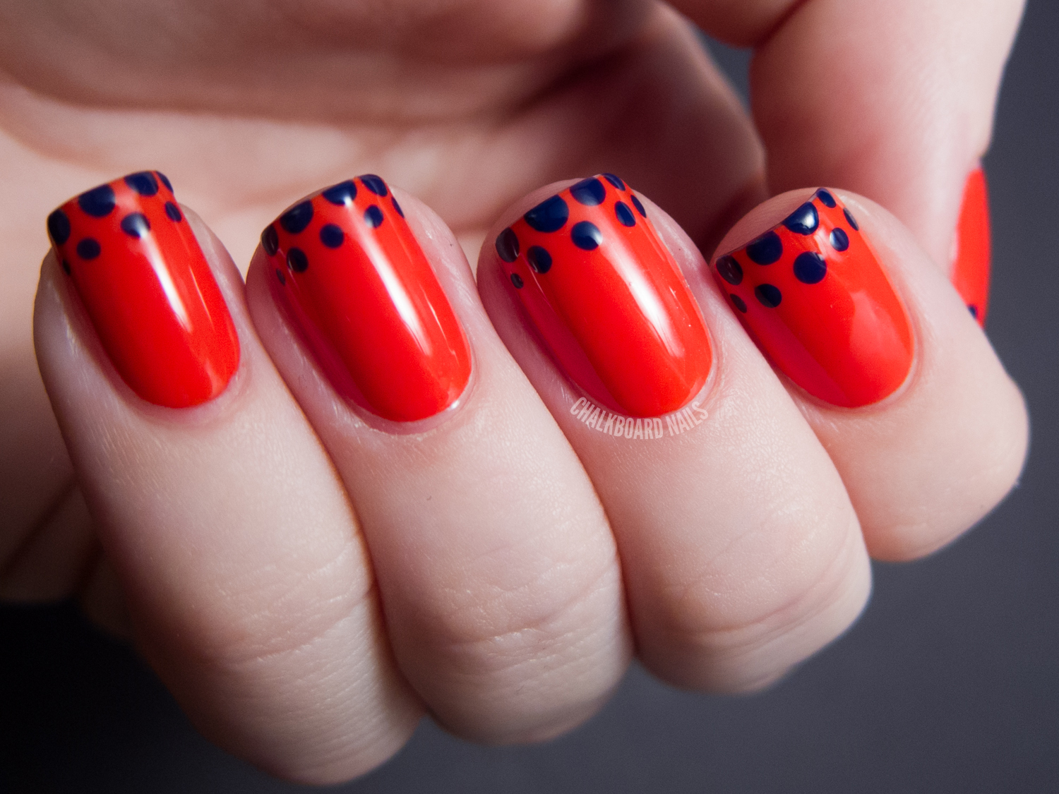 Easy Dotted French Tip - OPI Euro Centrale Nail Art | Chalkboard Nails ...