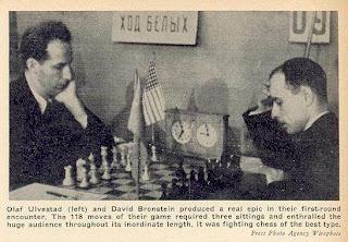Partida de ajedrez Ulvestad- Bronstein jugada en 1946