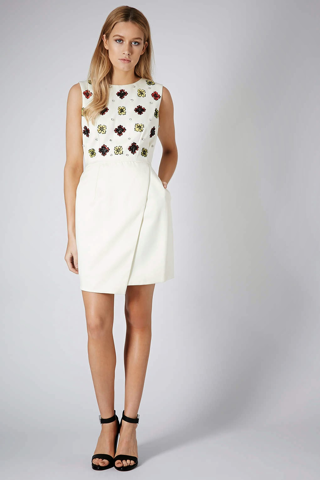 cream dress with pockets