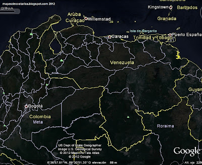 Mapa de VENEZUELA, Google Earth (vista nocturna)