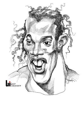 portrait caricature de Ronaldinhio footballeur par Igor Lukyanov(hachures croisées)