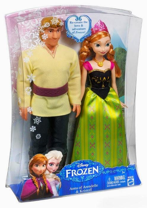 JUGUETES - PRINCESAS DISNEY   Pack muñecos o figuras de Anna y Kristoff : FROZEN  Producto Oficial | Toys | Mattel BDK35 | A partir de 3 años