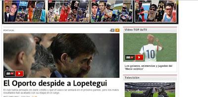 Screenshot de jornal espanhol que diz que Lopetegui foi despedido