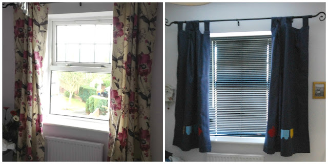 collage of two pictures left flowery right new made up curtains