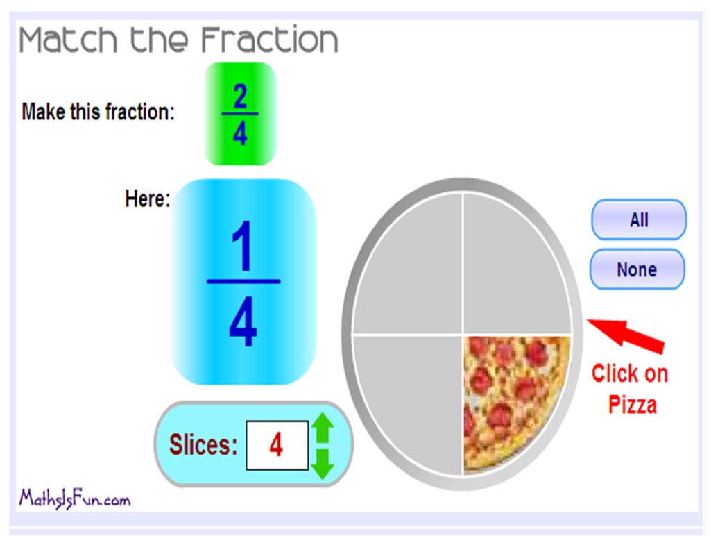 http://www.mathsisfun.com/numbers/fractions-match-frac-pizza.html