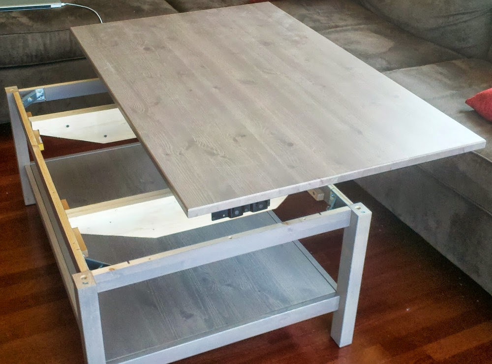Hemnes lift top coffee table ikea hackers ikea hackers - Table basse palette blanche ...