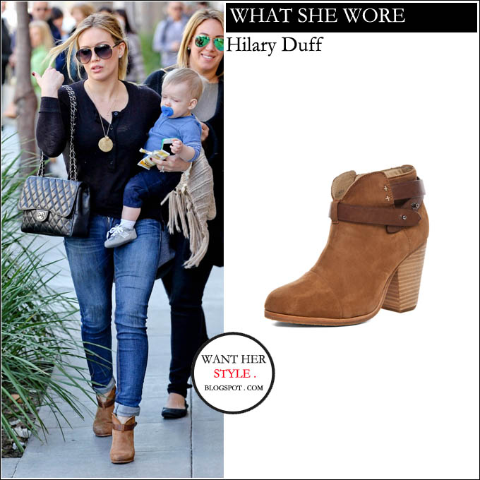 WHAT SHE WORE Hilary Duff In Camel Ankle Boots In Beverly