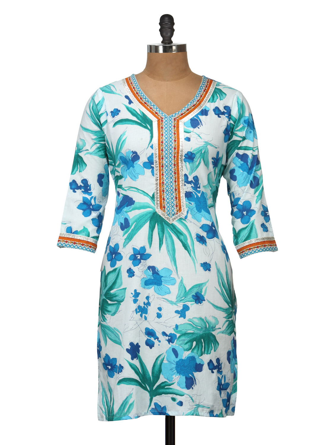 LimeRoad : Buy white floral printed Soft cotton kurti at Rs.719 only