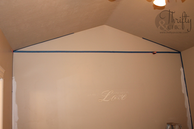 Square board and batten wall treatment. Great idea to break up wall with vaulted ceilings. Under $100 to do!