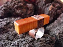 Anillo Cobre envejecido, rectángulo de picoyo, interior plata 950, tamaño ajustable¡¡  (234)
