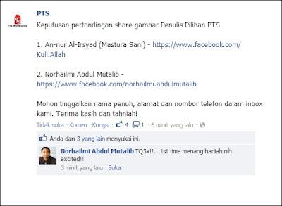 Cikgu Hailmi menang buku daripada PTS melalui Facebook