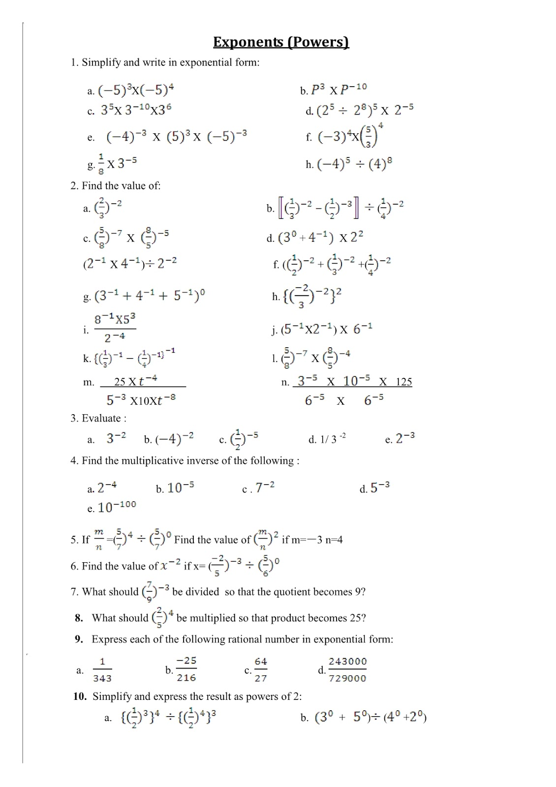 CBSENCERT MATH 8th Exponents Powers Worksheet – Worksheets on Exponents