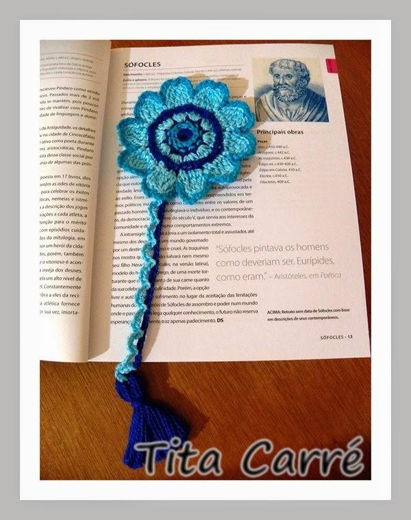 Marcador de livro - Flor com miolo bordado com ponto livre