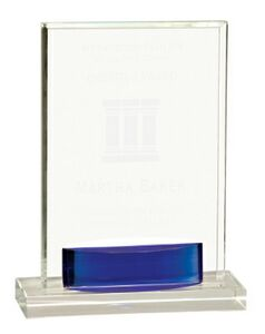 Blue Square Crystal Stand Up Award - Large