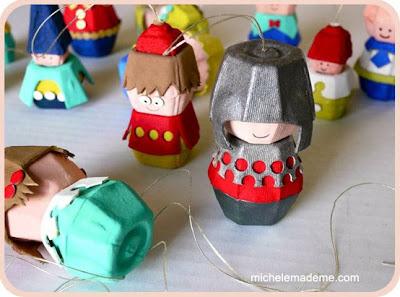muñecos creados con hueveras de cartón