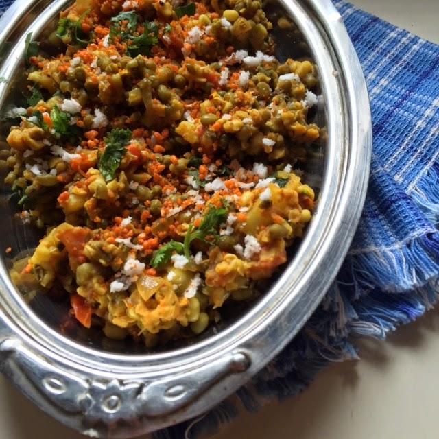 Maharashtrian misal, green moong sprouts, mung beans recipes