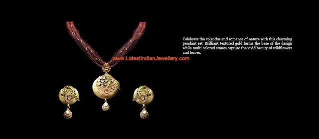 kundan pendant set cloth chain
