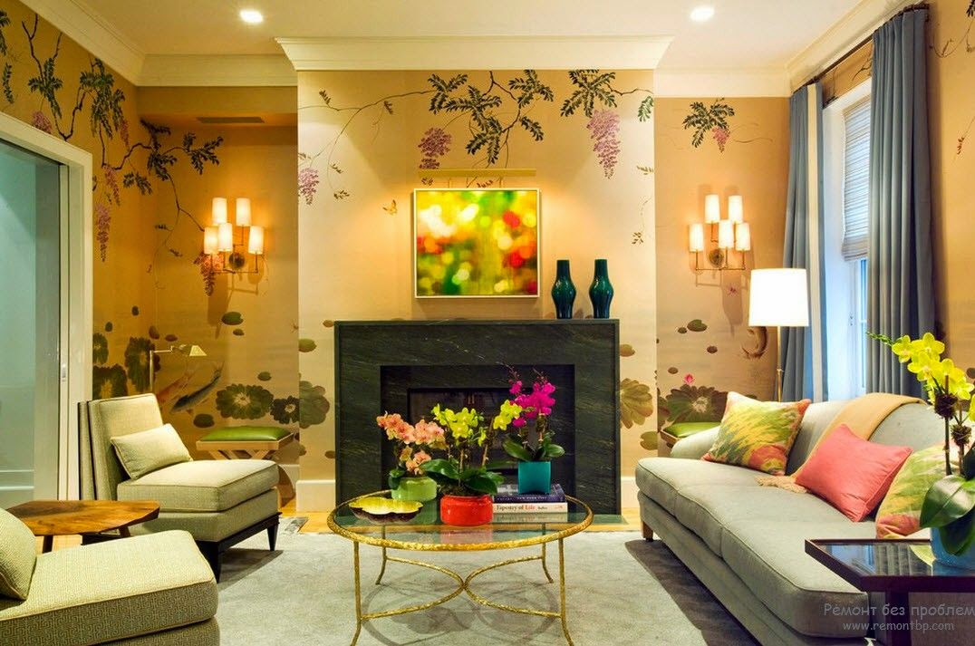 Trendy living room wallpaper ideas colors patterns and types for Sitting room wall ideas