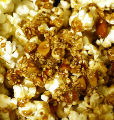 Spicy caramel corn with maple, almond, and sesame