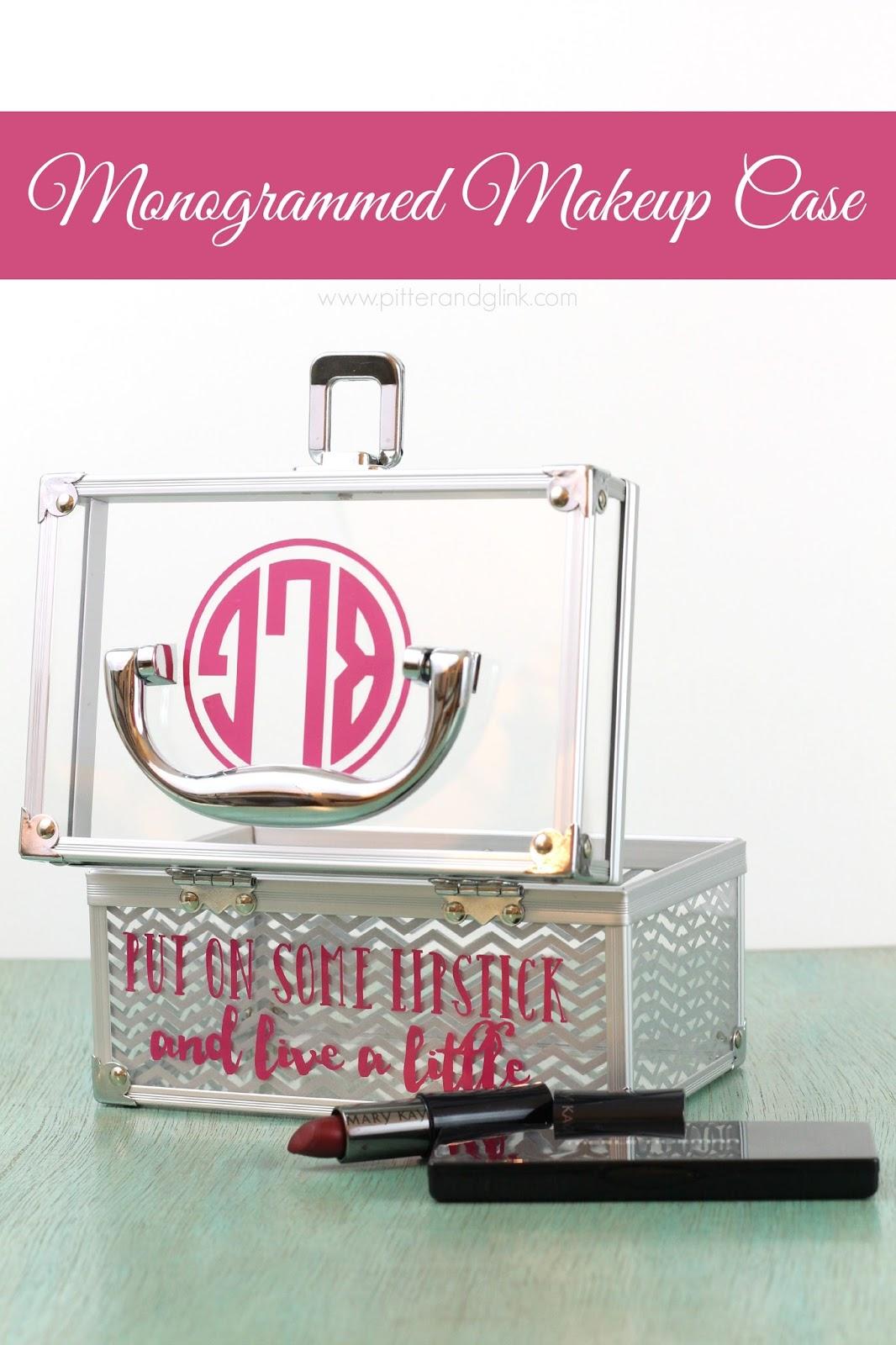 DIY Monogrammed Makeup Case pitterandglink.com