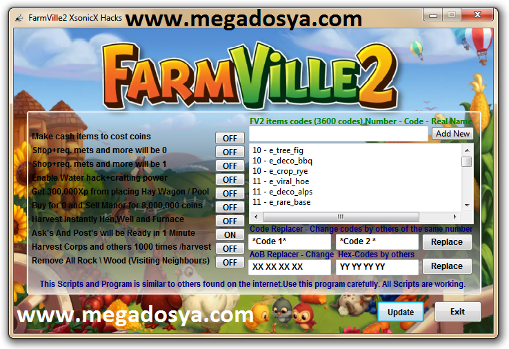 Farm1 Facebook Farmville 2 Trainer Oyun Hile Botu v1.4 indir   Download