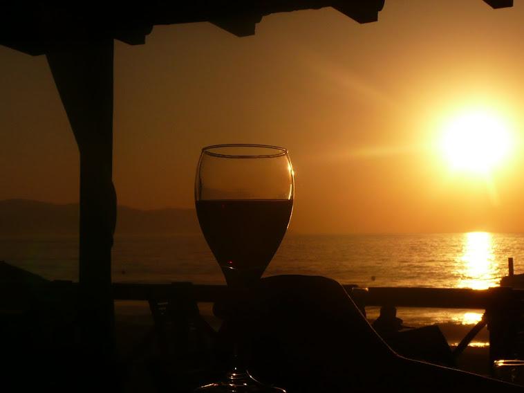 Vin et coucher de soleil