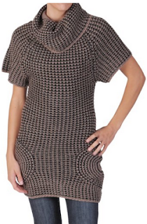 knitted weaved cowl neck sweater dress in color brown