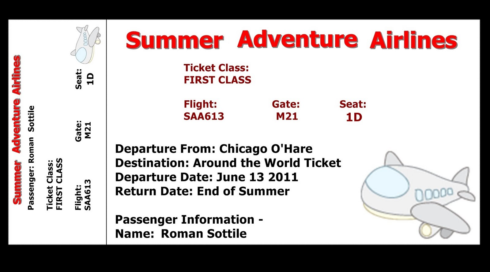 Printable airline ticket templates Mike Folkerth - King of Simple ...