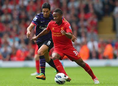 Arteta Sterling Liverpool v Arsenal 2012