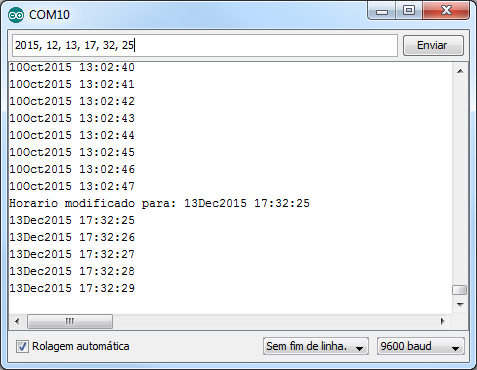 Serial monitor - Setar data e Hora
