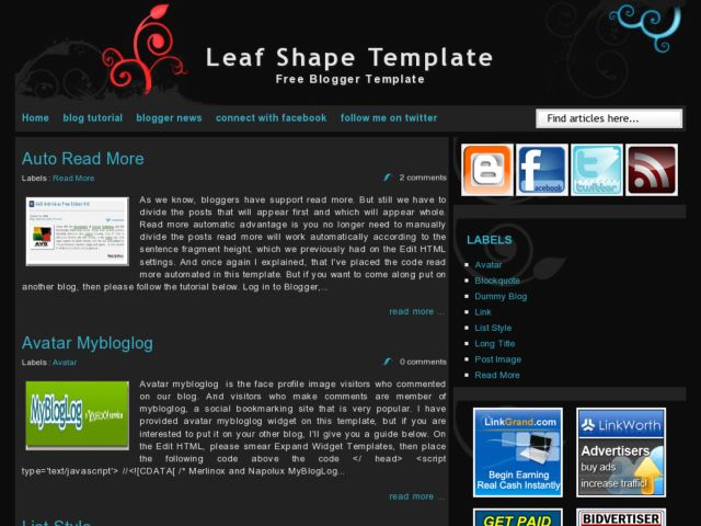 Leaf Shape Blogger Template