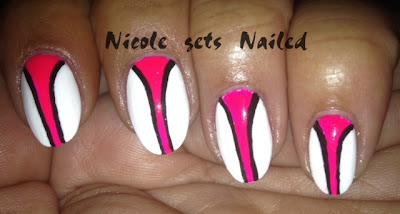 Neon Pink and Black Stripes on White