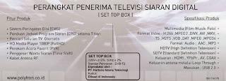 Spesifikasi Set Top Box Polytron DVB-T2 EWS
