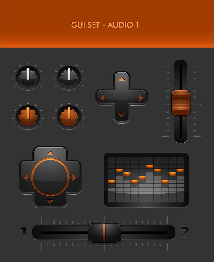 オーディオ インターフェイス キー素材 audio interface button keys material イラスト素材